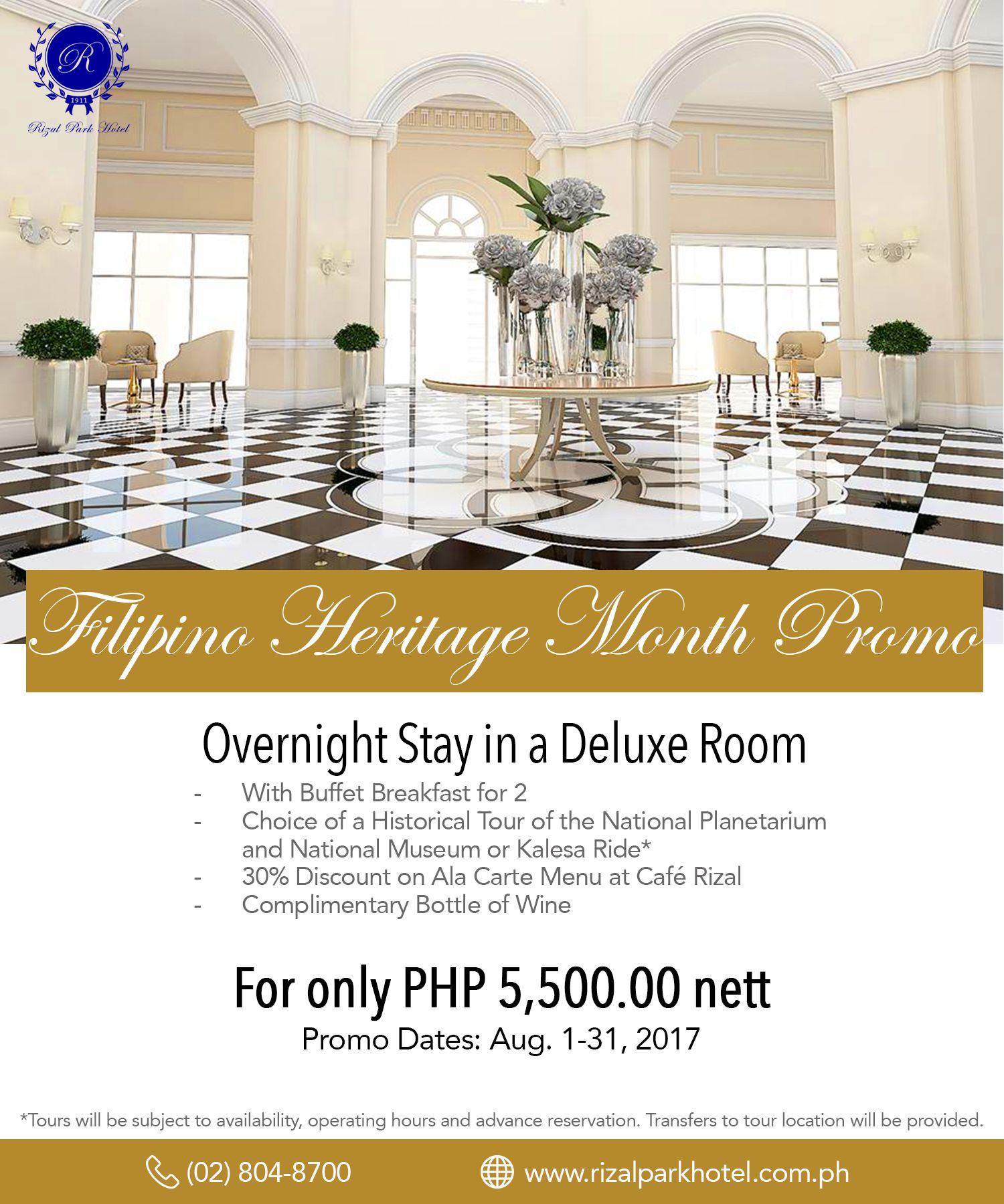 Rizal Park Hotel - Filipino Heritage Month Promo